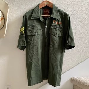 hard rock tampa mens scout shirt military green XL